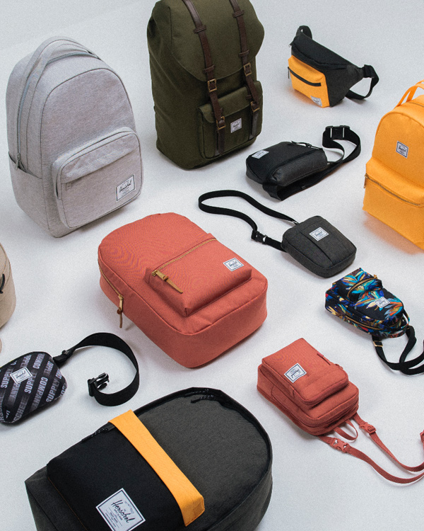 A collection of Herschel bags in new seasonal colors