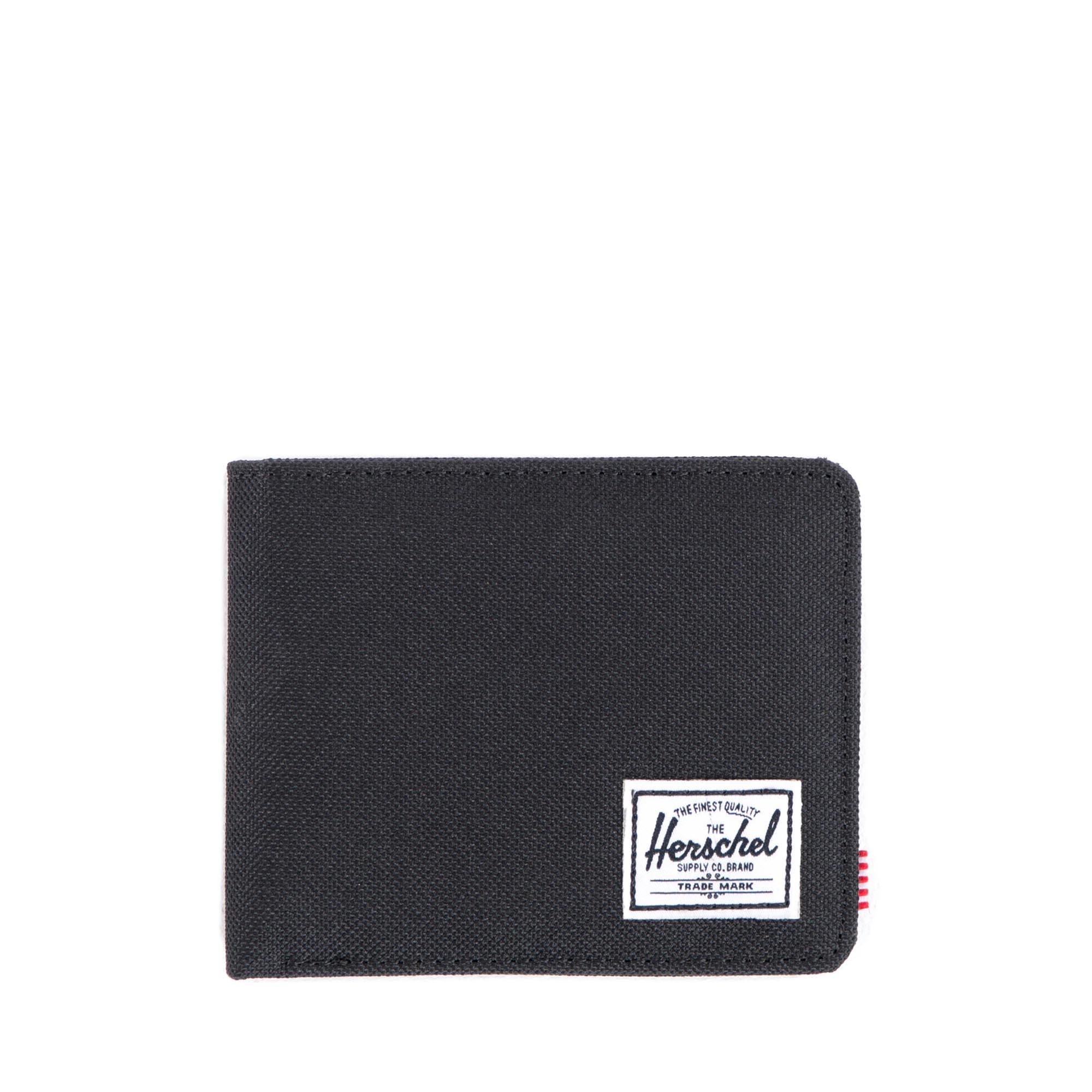 Herschel Roy RFID Wallet Credit Card Case Black Crosshatch Evening Primrose