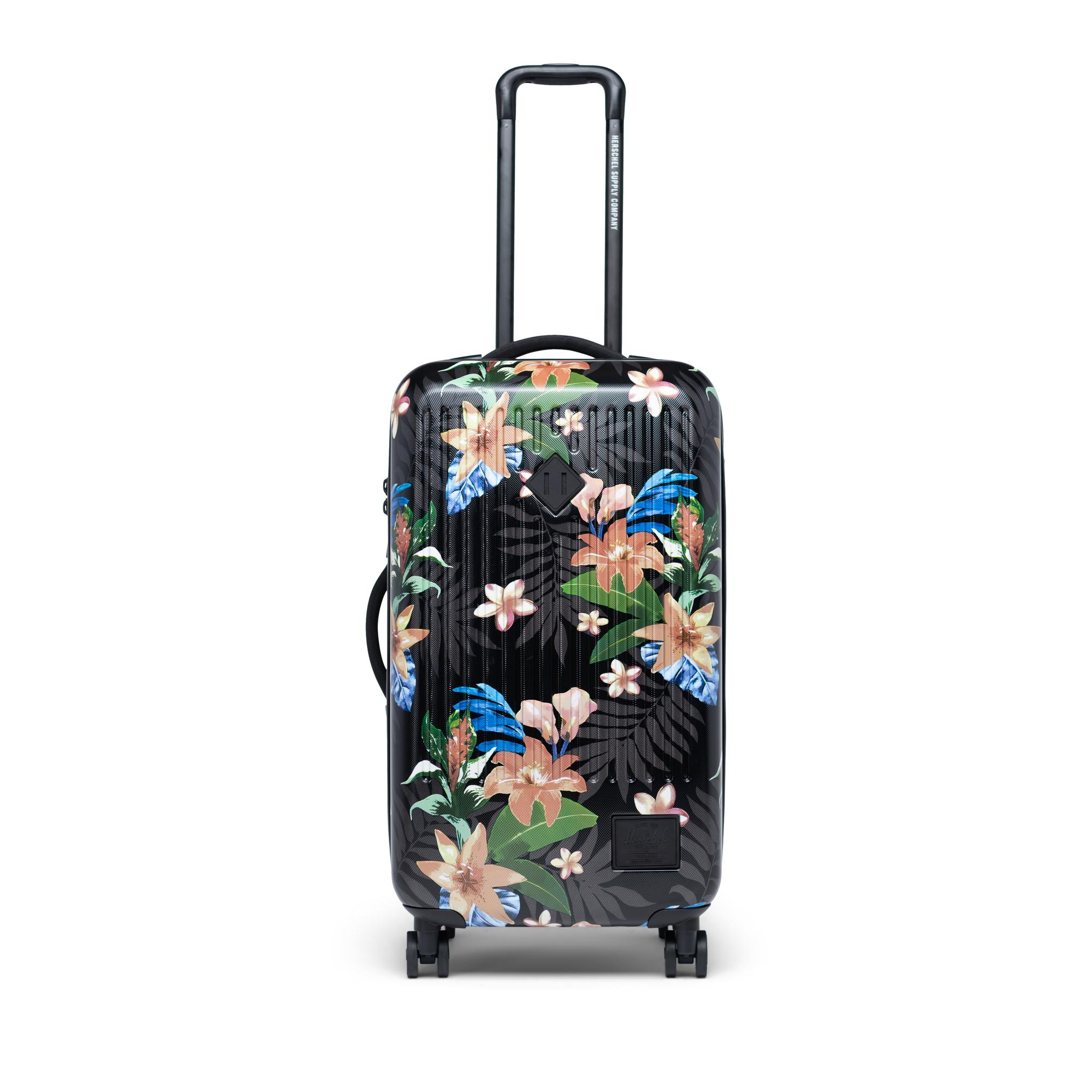 Travel Luggage Cover Blooming Red Roses Black White Stripes Suitcase Protector